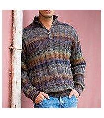 men's 100% alpaca sweater, 'traveler' (peru)