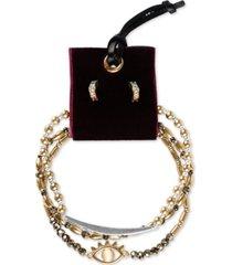 lucky brand two-tone 4-pc. set crystal evil eye beaded stretch bracelets & drop earrings