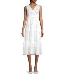 stellah women's metallic dot empire dress - white - size s