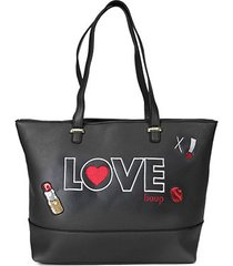 bolsa betty boop shopper bordada feminina