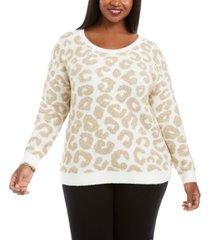 belldini plus size metallic animal-print sweater