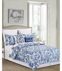 blue coast shells king quilt set, 3 pieces