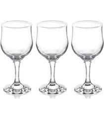 conjunto de taças tulip para vinho em vidro 300ml com 3 peças