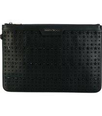 jimmy choo 'derek' studded pouch - black