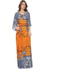 vestido lez a lez longo lace up laranja/azul