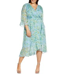 adrianna papell ditsy floral ruffle chiffon dress, size 18w in blue multi at nordstrom