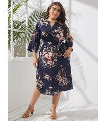 yoins plus talla cuello de pico estampado floral cinturón diseño atado diseño 3/4 longitud mangas vestido