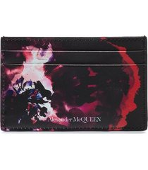alexander mcqueen rose-print leather card holder - black