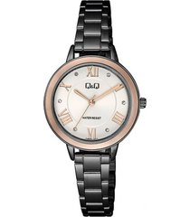 reloj para dama elegante q&q qb89j417y negro