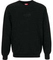supreme pique crew neck sweatshirt - black