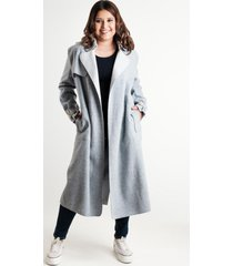 chaqueta larga paño sintético celeste night concept