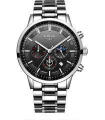 reloj cuarzo deportivo hombre lujo negocios lige 9877 plateado