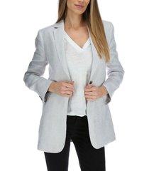 chaqueta lino mujer long blazer celeste rockford