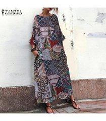 zanzea verano de las mujeres la playa de bohemia del vestido floral kaftan maxi vestidos de camiseta de -floral