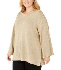 calvin klein plus size button-shoulder metallic sweater