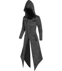 hooded eyelet zippered asymmetric knitted coat