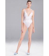 sleek silk lace bodysuit, lingerie, women's, white, size l, josie natori