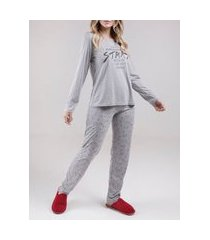 pijama longo feminino cinza