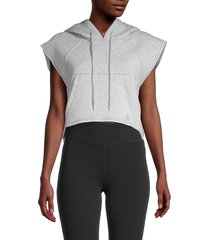 la la anthony women's cap-sleeve cropped hoodie - grey - size xl