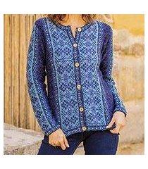 100% alpaca sweater, 'blue andean poinsettia' (peru)