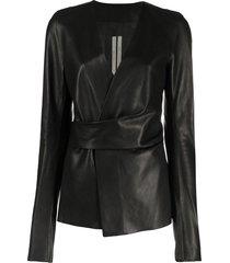 rick owens wraparound leather jacket - black