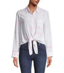 rails women's self-tie silk shirt - pink tie dye - size m