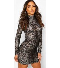 high neck sheer overlay mini dress, black