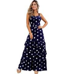 vestido largo de tiras en tiempos azul oscuro unipunto 2352