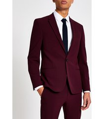 river island mens dark red stretch skinny suit jacket