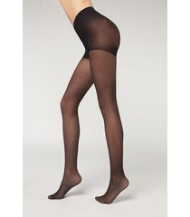 calzedonia 30 denier total shaper tights woman black size 3