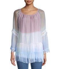 le marais women's dip-dye lace-trim blouse - denim - size xl