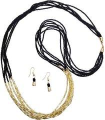 collar mostacilla negra y canutillo