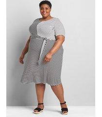 lane bryant women's perfect sleeve tie-waist dress 34/36 black/white