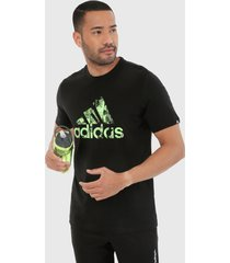 camiseta negro-verde adidas performance photo logo