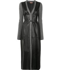 altuzarra v-neck leather dress - black