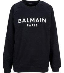 balmain cotton sweatshirt with balmain paris logo print