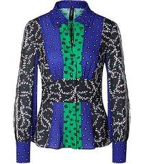 marc cain blouse met patches van kant blauw
