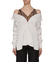 chantilly lace underlay satin crepe off-shoulder shirt