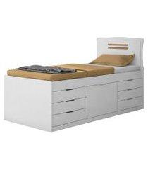 cama cômoda florença solteiro branco conquista móveis