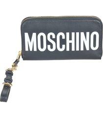 moschino logo printed zip-around wallet