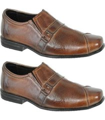 kit 2 pares sapato social couro confortável infantil leoppé - masculino