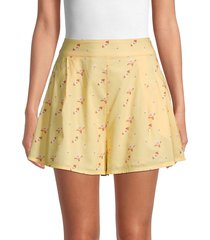 weworewhat women's floral-print cotton-blend shorts - flowers - size m