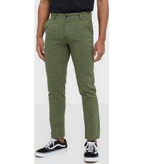selected homme slhstraight-paris linen pants w byxor mörk grön