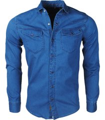 new republic megaman heren overhemd jeans slimfit stretch -