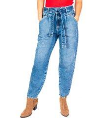 jeans slouchy cinturón lazo azul efesis