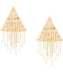 jil sander pendant triangle earrings - gold