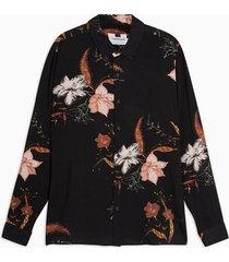 mens black floral print slim shirt