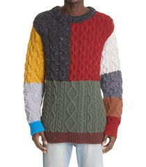 alanui men's san pedro fisherman patchwork wool & cashmere sweater, size large in multicolor at nordstrom