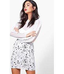 amarah monochrome star print mini skirt