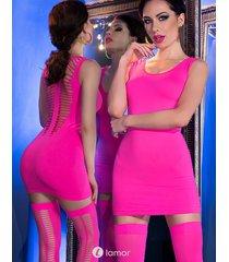 * chilirose neon roze mini jurk met kousen